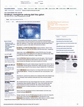 Berita Pure Water Care terbit di majalah KONTAN ONLINE Edisi Jum'at 12 Nopember 2010